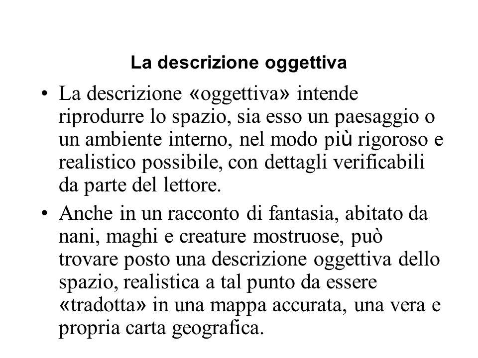 La descrizione oggettiva La descrizione « oggettiva » intende riprodurre lo spazio, sia esso un paesaggio o un ambiente interno, nel modo pi ù rigoros
