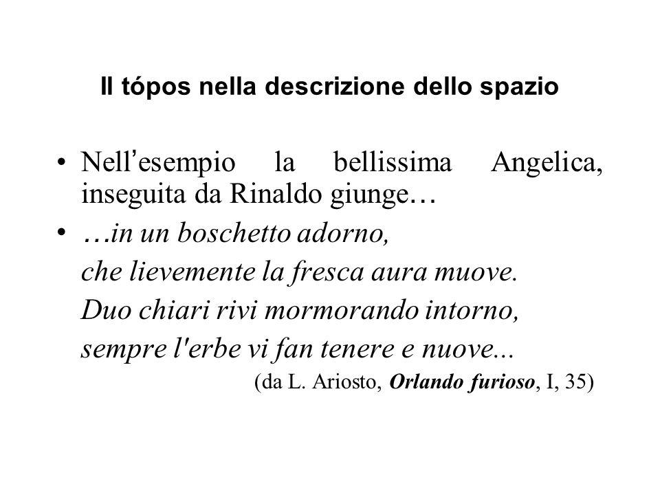 Il tópos nella descrizione dello spazio Nell esempio la bellissima Angelica, inseguita da Rinaldo giunge … … in un boschetto adorno, che lievemente la