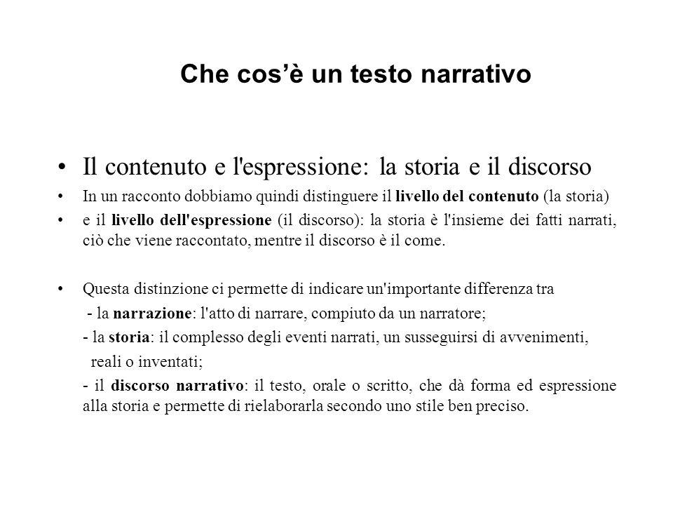 Che cosè un testo narrativo Il contenuto e l'espressione: la storia e il discorso In un racconto dobbiamo quindi distinguere il livello del contenuto
