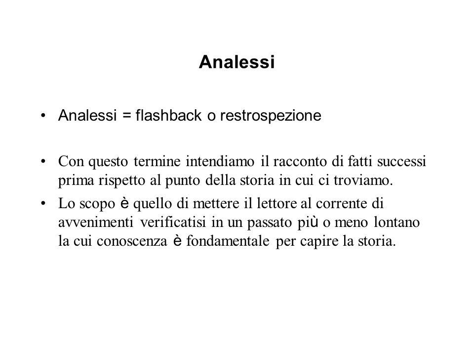 Analessi Analessi = flashback o restrospezione Con questo termine intendiamo il racconto di fatti successi prima rispetto al punto della storia in cui