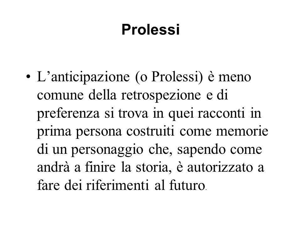 Prolessi Lanticipazione (o Prolessi) è meno comune della retrospezione e di preferenza si trova in quei racconti in prima persona costruiti come memor