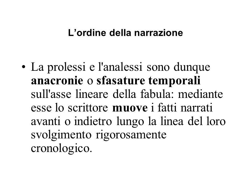 Lordine della narrazione La prolessi e l'analessi sono dunque anacronie o sfasature temporali sull'asse lineare della fabula: mediante esse lo scritto