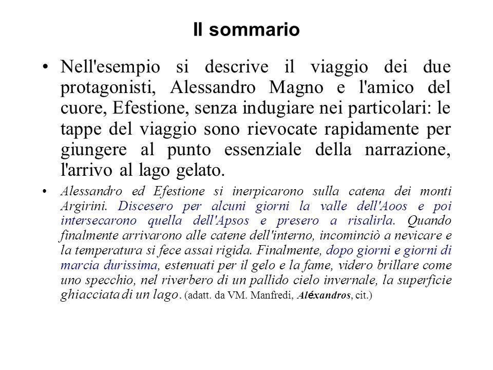 Il sommario Nell'esempio si descrive il viaggio dei due protagonisti, Alessandro Magno e l'amico del cuore, Efestione, senza indugiare nei particolari