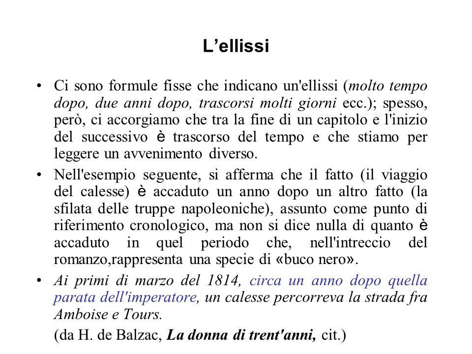 Lellissi Ci sono formule fisse che indicano un'ellissi (molto tempo dopo, due anni dopo, trascorsi molti giorni ecc.); spesso, però, ci accorgiamo che
