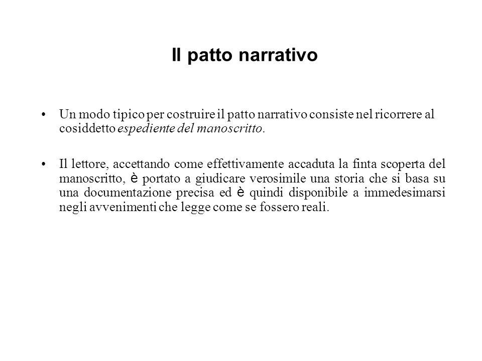 Il patto narrativo Un modo tipico per costruire il patto narrativo consiste nel ricorrere al cosiddetto espediente del manoscritto. Il lettore, accett