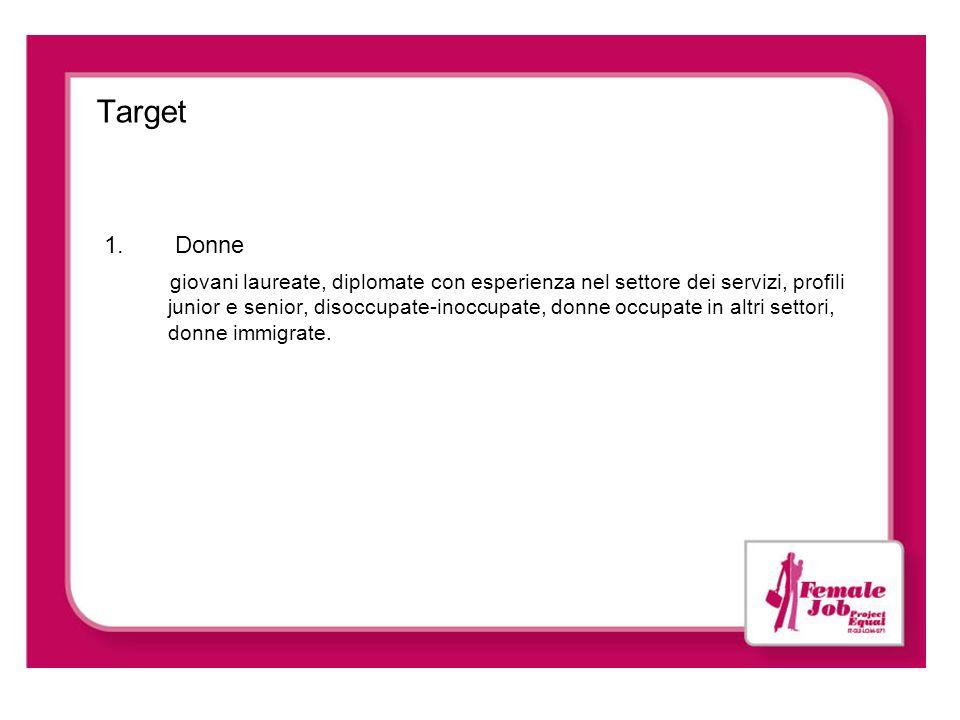 Target 1. Donne giovani laureate, diplomate con esperienza nel settore dei servizi, profili junior e senior, disoccupate-inoccupate, donne occupate in
