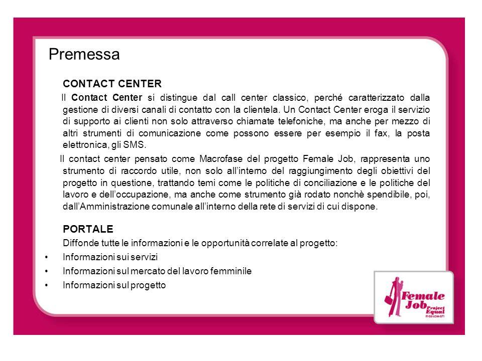 Premessa CONTACT CENTER Il Contact Center si distingue dal call center classico, perché caratterizzato dalla gestione di diversi canali di contatto co