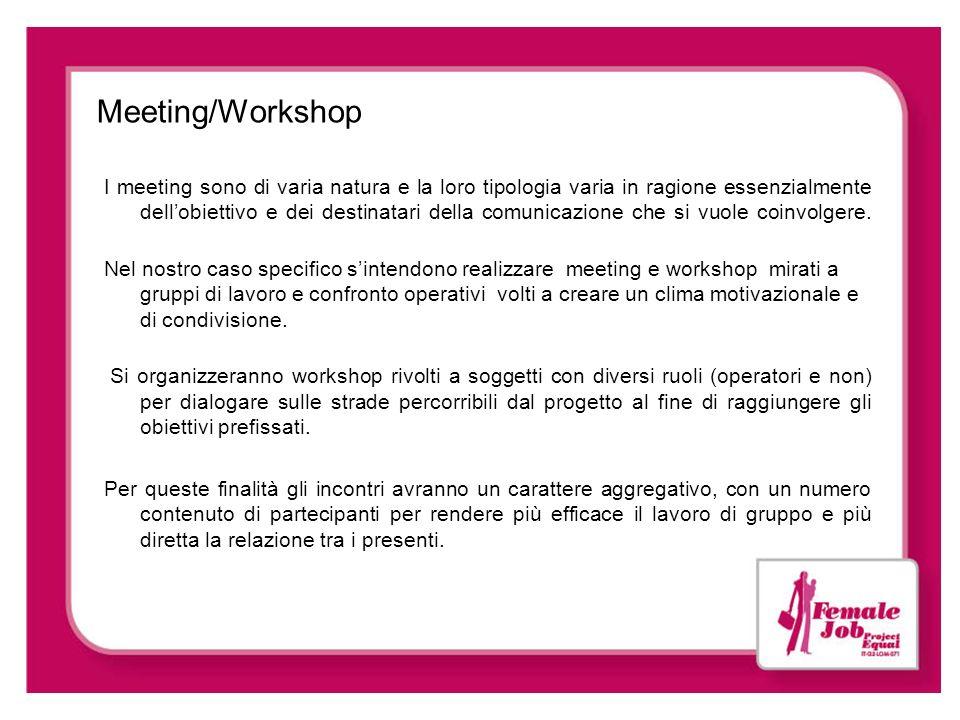 Meeting/Workshop I meeting sono di varia natura e la loro tipologia varia in ragione essenzialmente dellobiettivo e dei destinatari della comunicazion