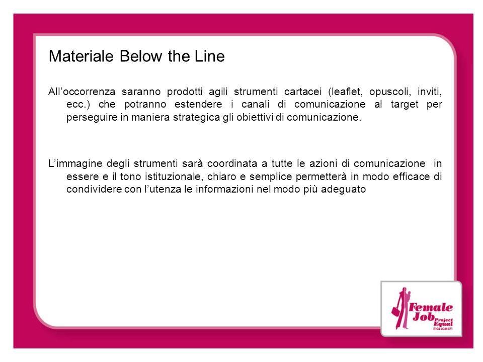 Materiale Below the Line Alloccorrenza saranno prodotti agili strumenti cartacei (leaflet, opuscoli, inviti, ecc.) che potranno estendere i canali di