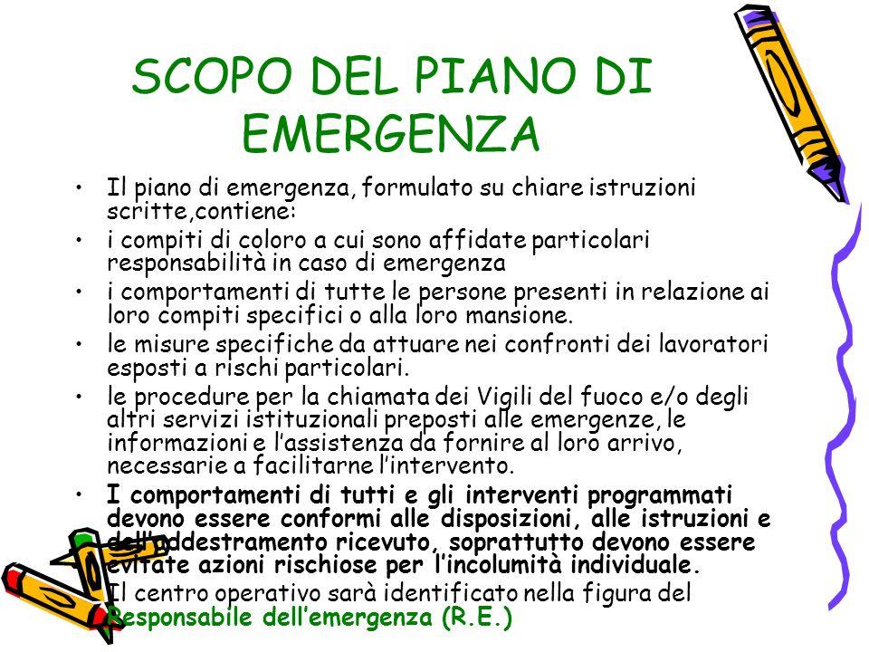 SCOPO DEL PIANO DI EMERGENZA Il piano di emergenza, formulato su chiare istruzioni scritte,contiene: i compiti di coloro a cui sono affidate particola