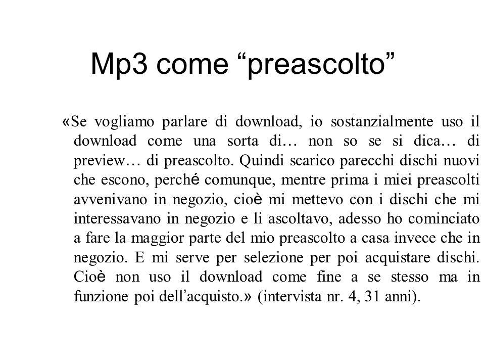 Mp3 come preascolto « Se vogliamo parlare di download, io sostanzialmente uso il download come una sorta di … non so se si dica … di preview … di prea