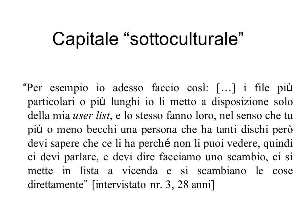 Capitale sottoculturale Per esempio io adesso faccio cos ì : [ … ] i file pi ù particolari o pi ù lunghi io li metto a disposizione solo della mia use