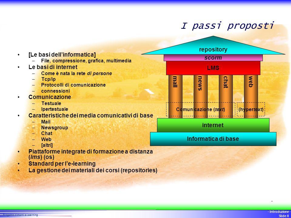 8 Progetto sistemi e-learning - Introduzione - Slide 8 I passi proposti [Le basi dellinformatica] –File, compressione, grafica, multimedia Le basi di