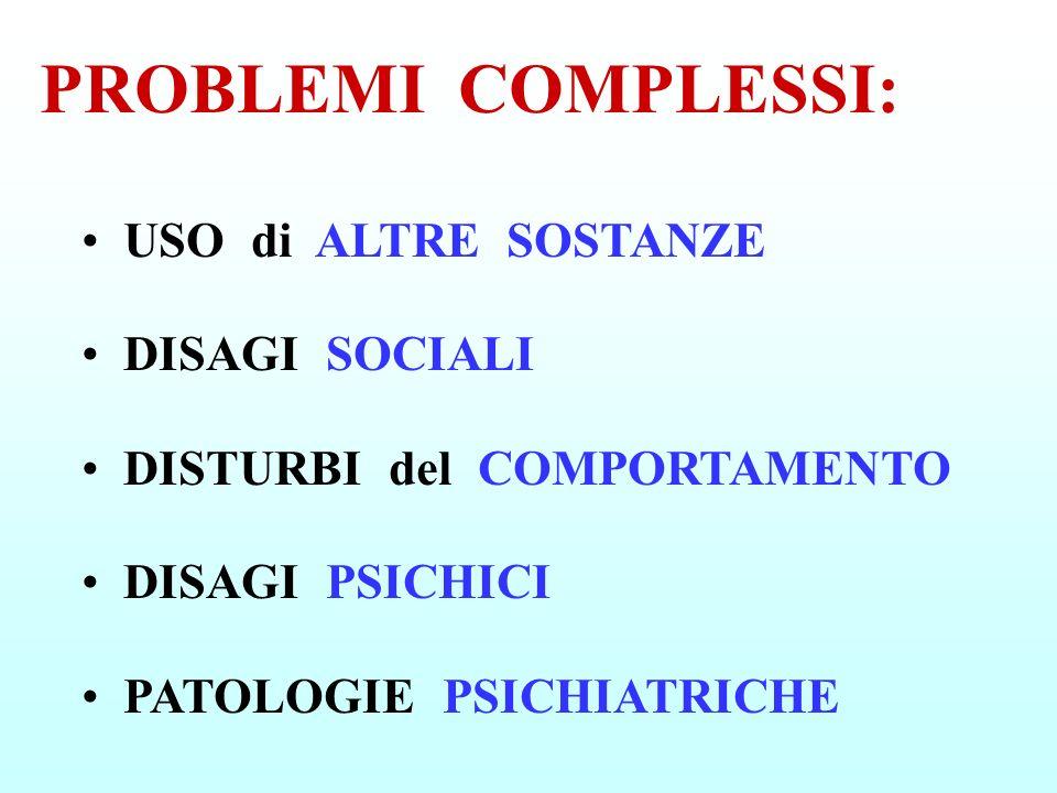 USO di ALTRE SOSTANZE DISAGI SOCIALI DISTURBI del COMPORTAMENTO DISAGI PSICHICI PATOLOGIE PSICHIATRICHE PROBLEMI COMPLESSI: