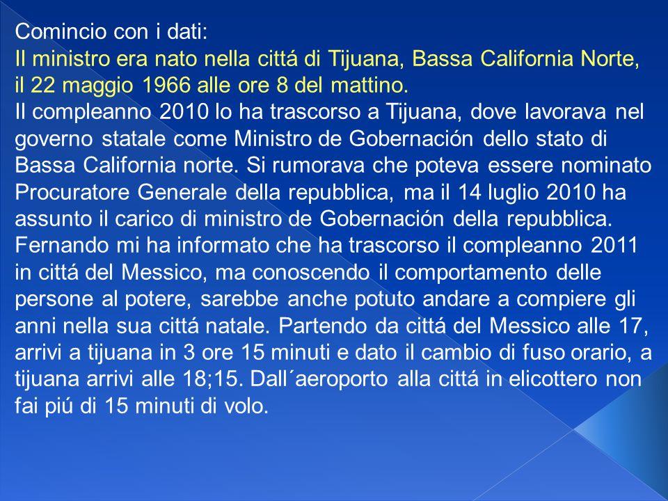 Comincio con i dati: Il ministro era nato nella cittá di Tijuana, Bassa California Norte, il 22 maggio 1966 alle ore 8 del mattino.