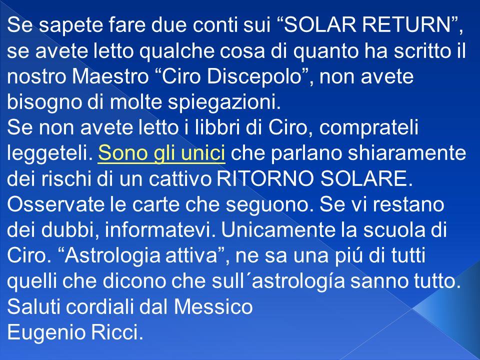 Se sapete fare due conti sui SOLAR RETURN, se avete letto qualche cosa di quanto ha scritto il nostro Maestro Ciro Discepolo, non avete bisogno di molte spiegazioni.