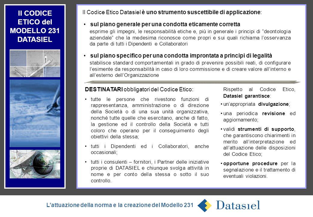 13 Il CODICE ETICO del MODELLO 231 DATASIEL Lattuazione della norma e la creazione del Modello 231 sul piano specifico per una condotta improntata a p