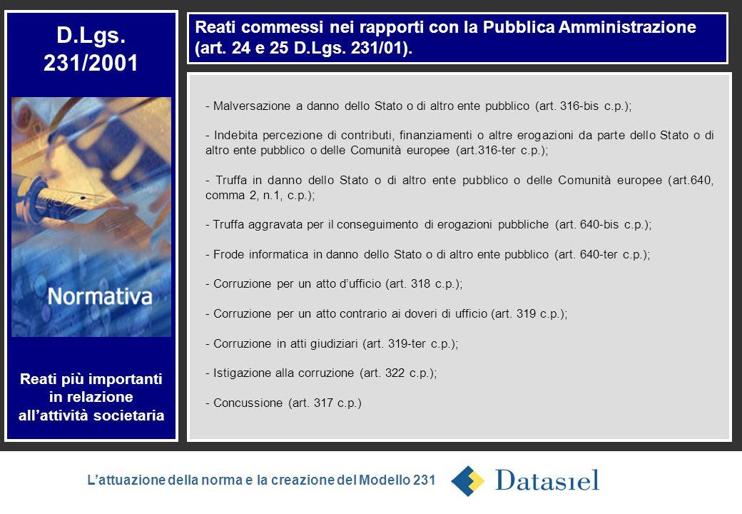 3 Reati commessi nei rapporti con la Pubblica Amministrazione (art. 24 e 25 D.Lgs. 231/01). D.Lgs. 231/2001 Reati più importanti in relazione allattiv