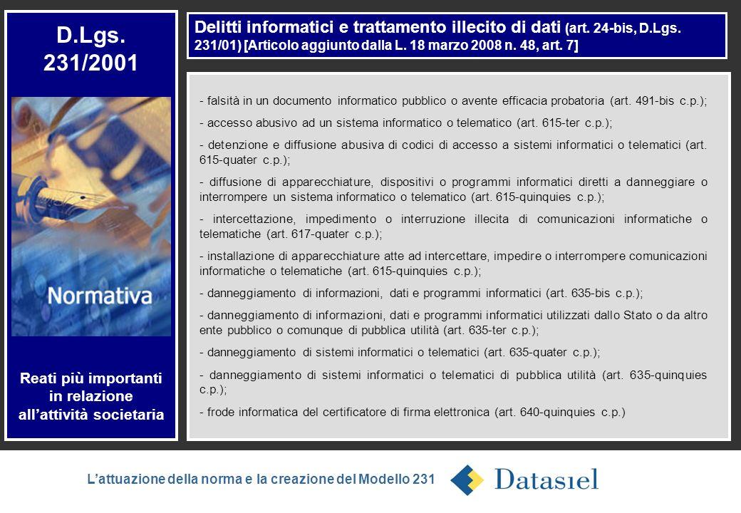 5 Delitti informatici e trattamento illecito di dati (art. 24-bis, D.Lgs. 231/01) [Articolo aggiunto dalla L. 18 marzo 2008 n. 48, art. 7] D.Lgs. 231/