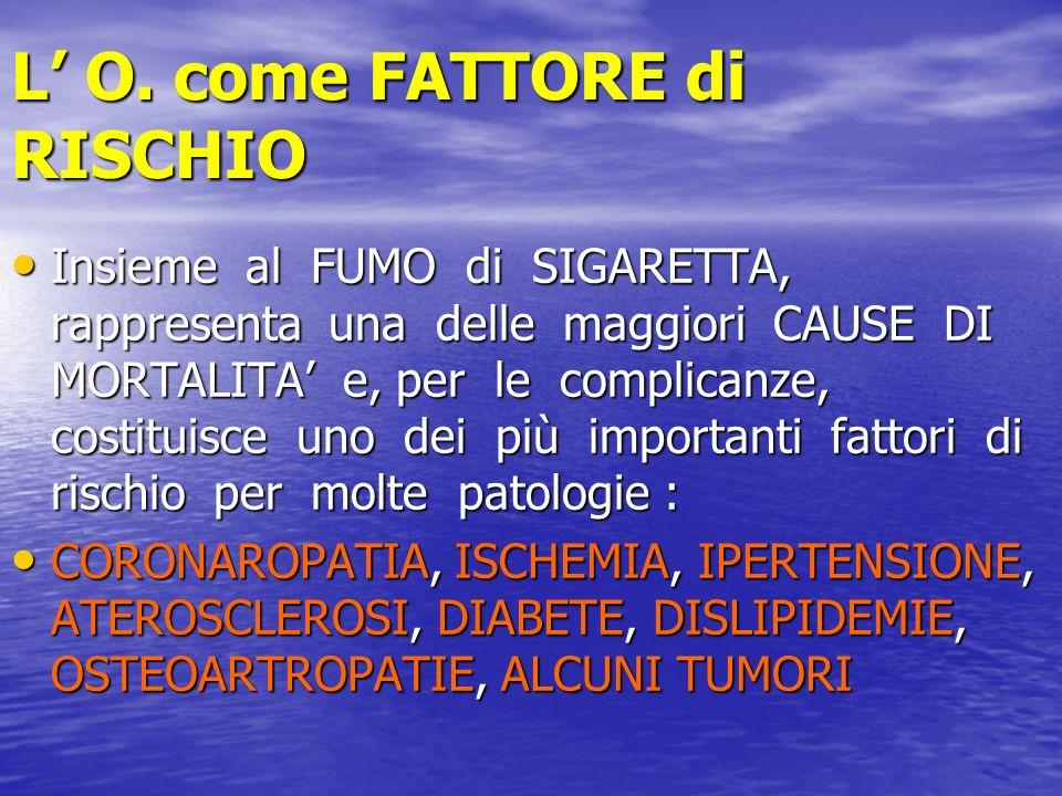 L O. come FATTORE di RISCHIO Insieme al FUMO di SIGARETTA, rappresenta una delle maggiori CAUSE DI MORTALITA e, per le complicanze, costituisce uno de