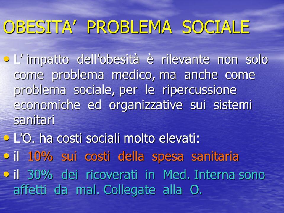 OBESITA PROBLEMA SOCIALE L impatto dellobesità è rilevante non solo come problema medico, ma anche come problema sociale, per le ripercussione economi