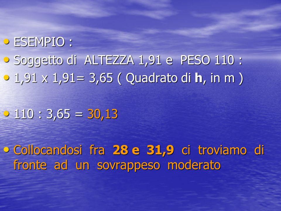 ESEMPIO : ESEMPIO : Soggetto di ALTEZZA 1,91 e PESO 110 : Soggetto di ALTEZZA 1,91 e PESO 110 : 1,91 x 1,91= 3,65 ( Quadrato di h, in m ) 1,91 x 1,91=