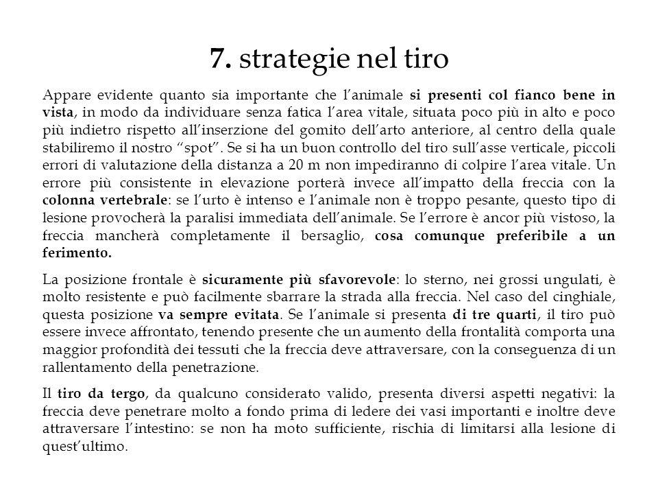 7. strategie nel tiro Appare evidente quanto sia importante che lanimale si presenti col fianco bene in vista, in modo da individuare senza fatica lar