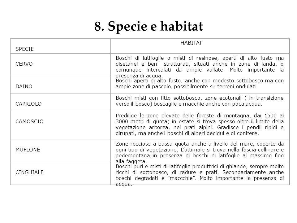 8. Specie e habitat SPECIE HABITAT CERVO Boschi di latifoglie o misti di resinose, aperti di alto fusto ma disetanei e ben strutturati, situati anche