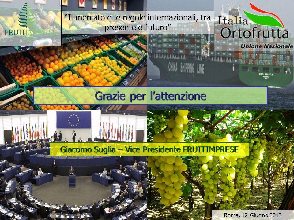 Il mercato e le regole internazionali, tra presente e futuro Grazie per lattenzione Giacomo Suglia – Vice Presidente FRUITIMPRESE Roma, 12 Giugno 2013