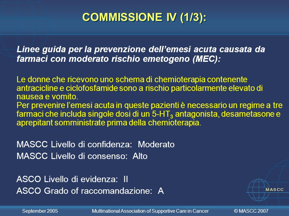 © MASCC 2007 September 2005 Multinational Association of Supportive Care in Cancer COMMISSIONE IV (1/3): Linee guida per la prevenzione dellemesi acut