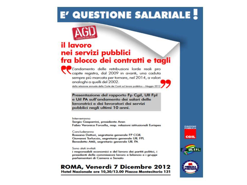 Il lavoro nei servizi pubblici tra blocco dei contratti e tagli LA QUESTIONE SALARIALE