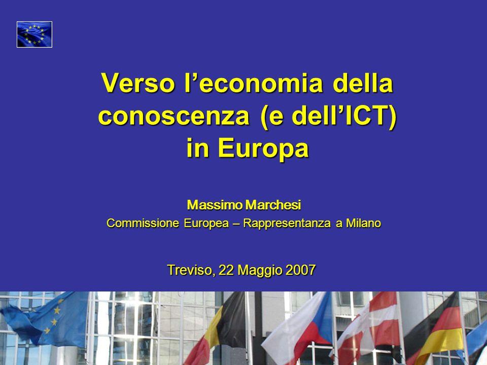 Massimo Marchesi Commissione Europea – Rappresentanza a Milano Verso leconomia della conoscenza (e dellICT) in Europa Treviso, 22 Maggio 2007