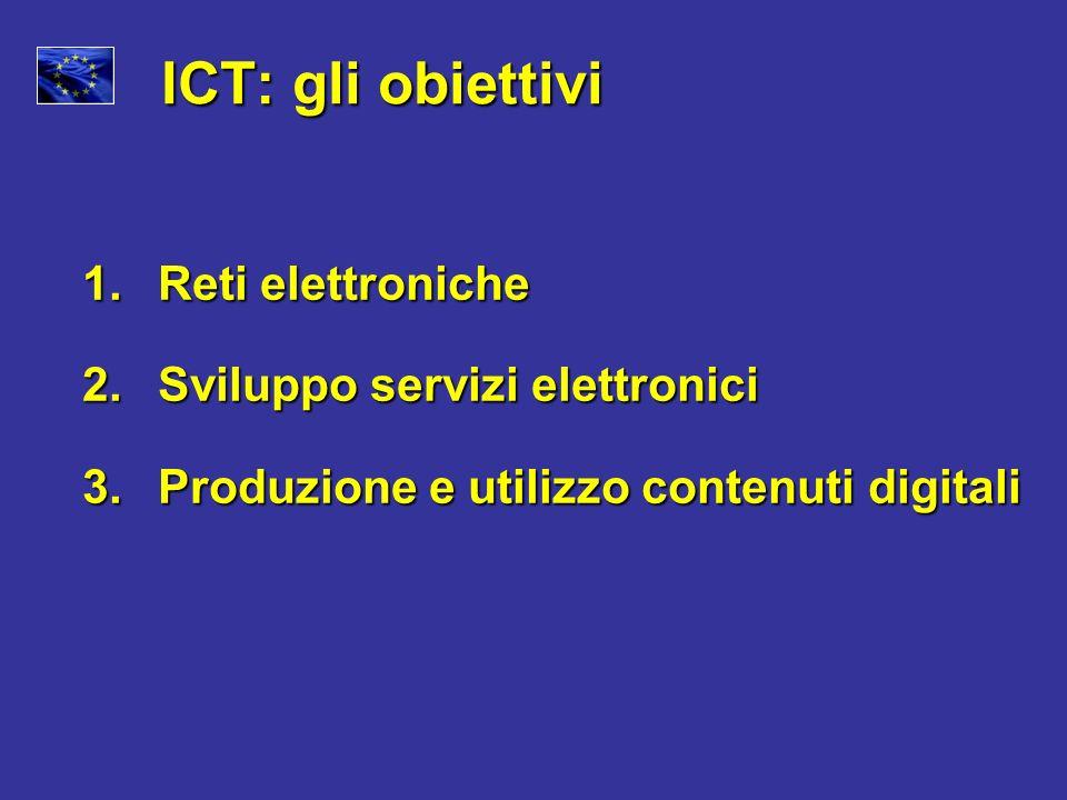 ICT: gli obiettivi 1. Reti elettroniche 2. Sviluppo servizi elettronici 3. Produzione e utilizzo contenuti digitali