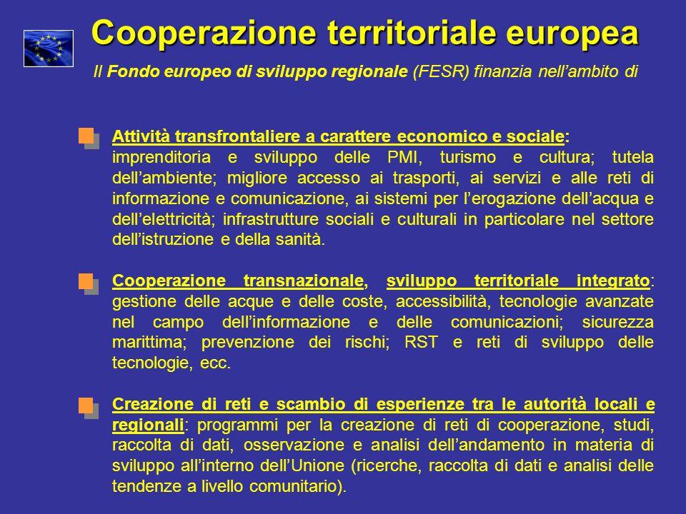Attività transfrontaliere a carattere economico e sociale: imprenditoria e sviluppo delle PMI, turismo e cultura; tutela dellambiente; migliore access
