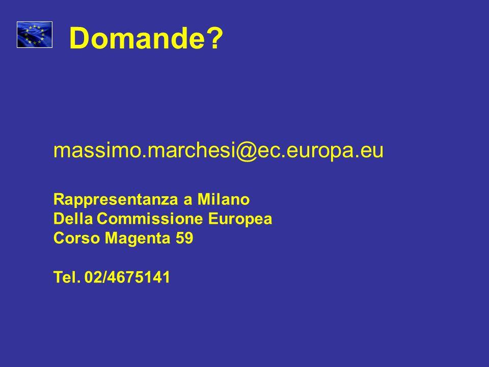 Domande? massimo.marchesi@ec.europa.eu Rappresentanza a Milano Della Commissione Europea Corso Magenta 59 Tel. 02/4675141