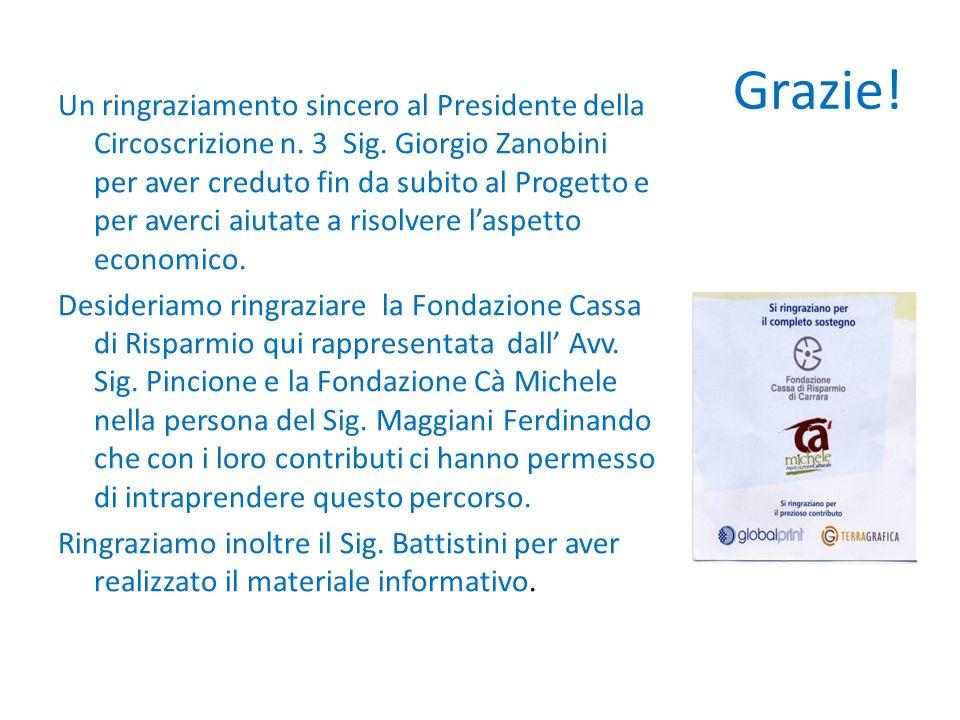 Grazie! Un ringraziamento sincero al Presidente della Circoscrizione n. 3 Sig. Giorgio Zanobini per aver creduto fin da subito al Progetto e per averc