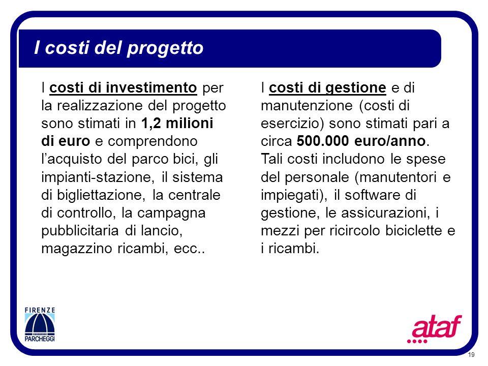 19 I costi del progetto I costi di investimento per la realizzazione del progetto sono stimati in 1,2 milioni di euro e comprendono lacquisto del parc