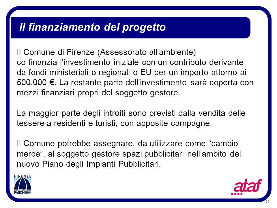 20 Il finanziamento del progetto Il Comune di Firenze (Assessorato allambiente) co-finanzia linvestimento iniziale con un contributo derivante da fond