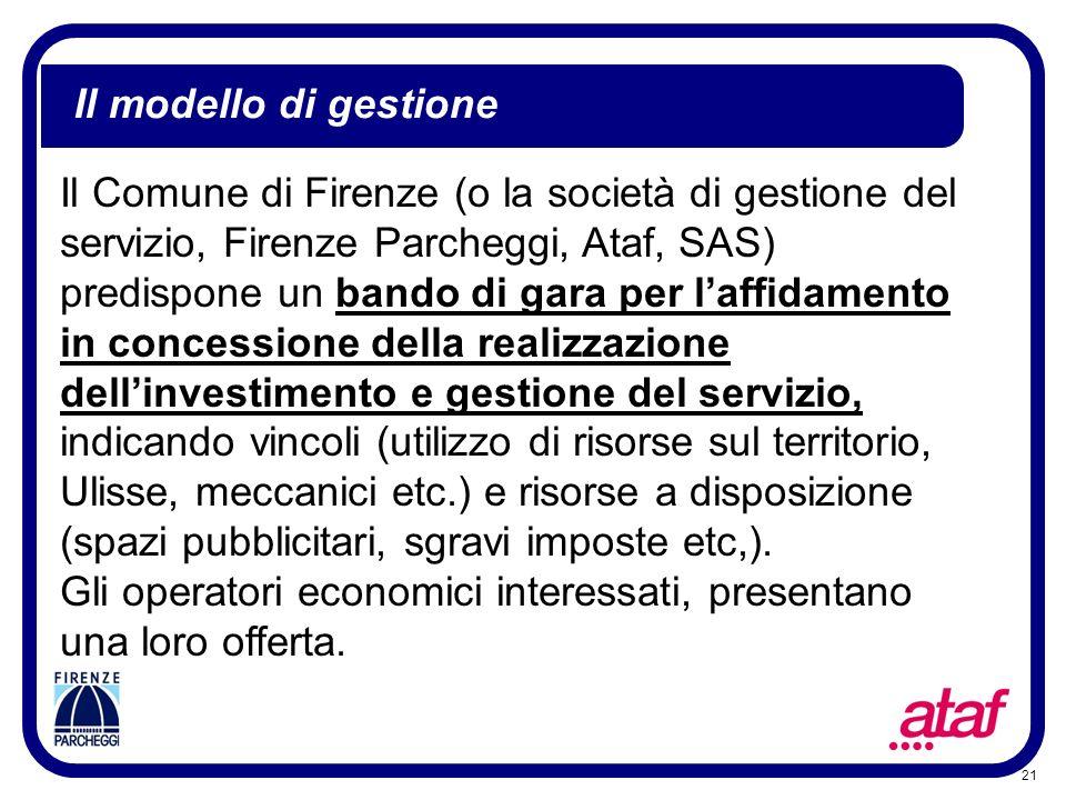 21 Il modello di gestione Il Comune di Firenze (o la società di gestione del servizio, Firenze Parcheggi, Ataf, SAS) predispone un bando di gara per l