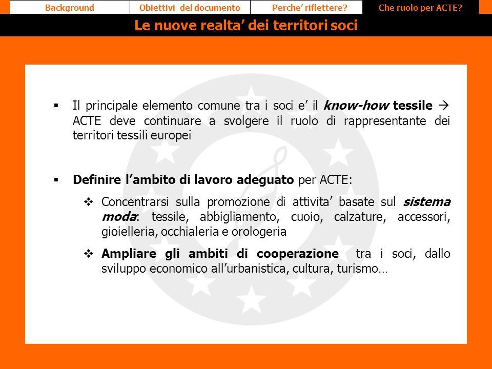 Il principale elemento comune tra i soci e il know-how tessile ACTE deve continuare a svolgere il ruolo di rappresentante dei territori tessili europe