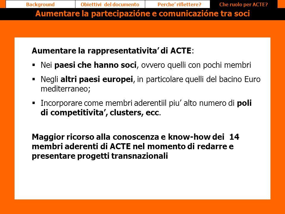 Aumentare la rappresentativita di ACTE: Nei paesi che hanno soci, ovvero quelli con pochi membri Negli altri paesi europei, in particolare quelli del