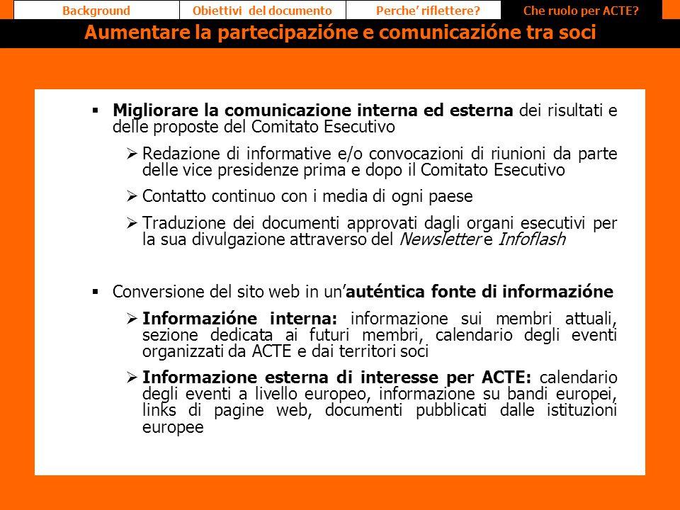 Migliorare la comunicazione interna ed esterna dei risultati e delle proposte del Comitato Esecutivo Redazione di informative e/o convocazioni di riun