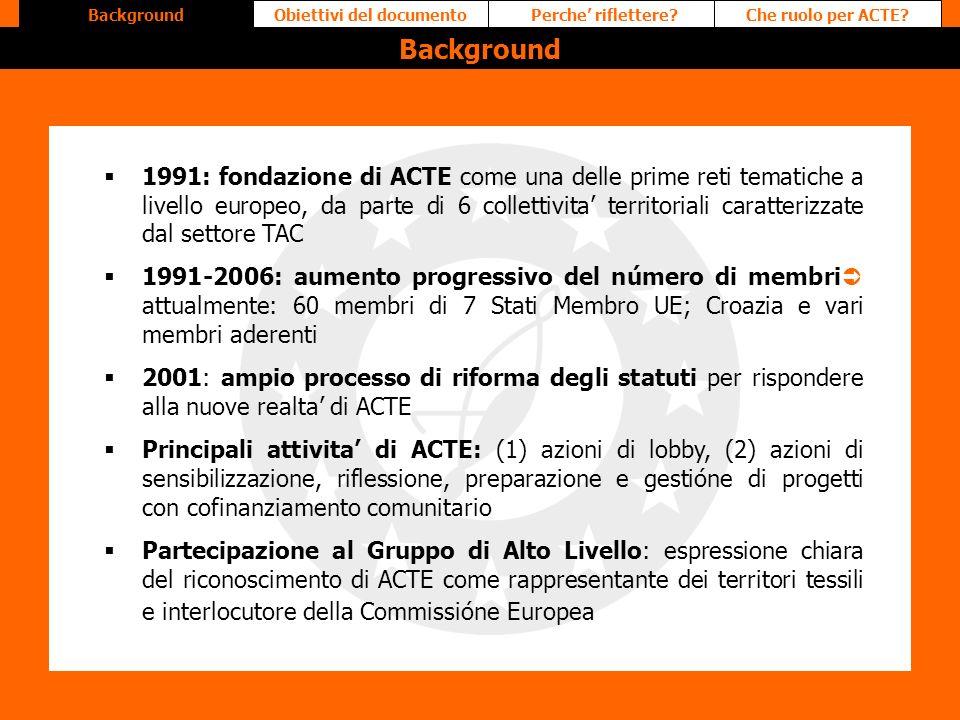 Perche riflettere?Obiettivi del documentoChe ruolo per ACTE?Background 1991: fondazione di ACTE come una delle prime reti tematiche a livello europeo,