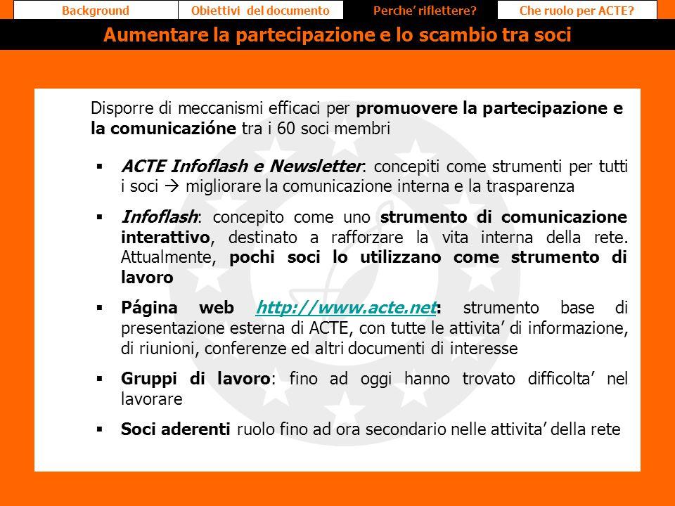 ACTE Infoflash e Newsletter: concepiti come strumenti per tutti i soci migliorare la comunicazione interna e la trasparenza Infoflash: concepito come