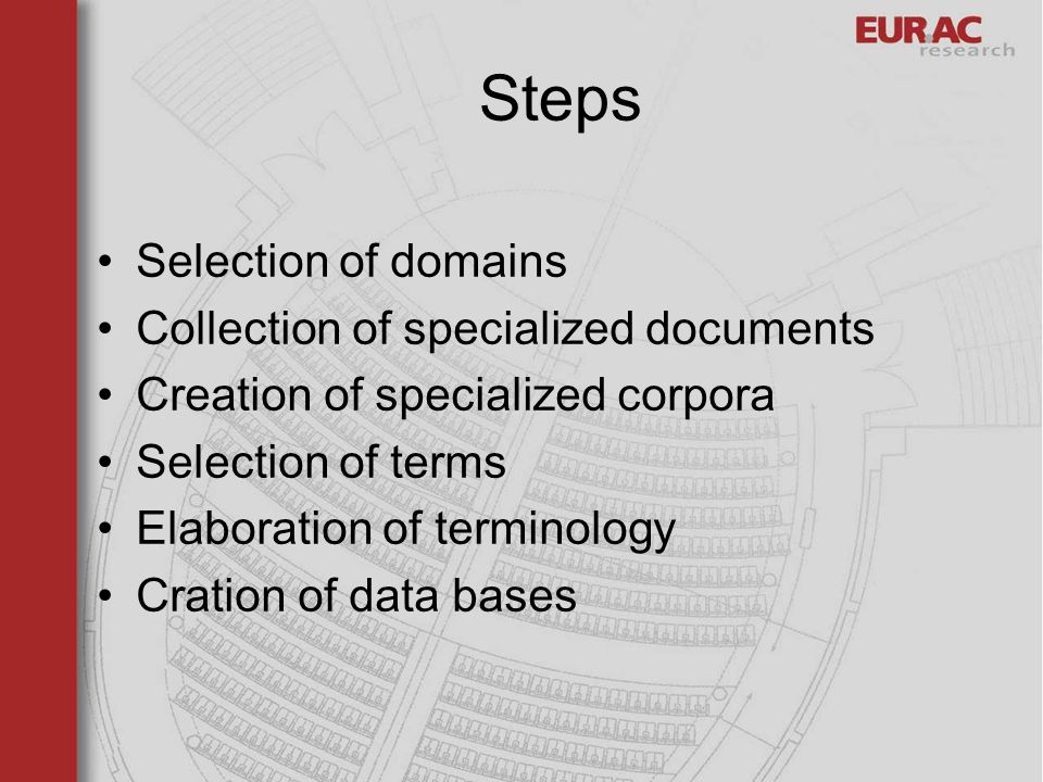 Steps Selection of domains Collection of specialized documents Creation of specialized corpora Selection of terms Elaboration of terminology Cration of data bases