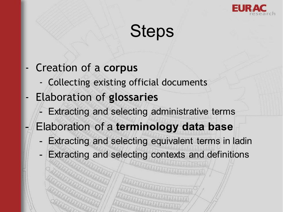 Steps -Creation of a corpus -Collecting existing official documents -Elaboration of glossaries -Extracting and selecting administrative terms -Elaboration of a terminology data base -Extracting and selecting equivalent terms in ladin -Extracting and selecting contexts and definitions