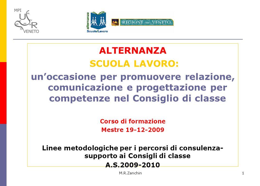 M.R.Zanchin1 ALTERNANZA SCUOLA LAVORO: unoccasione per promuovere relazione, comunicazione e progettazione per competenze nel Consiglio di classe Cors