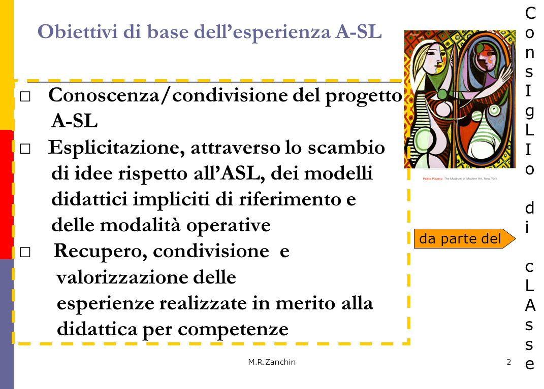 M.R.Zanchin3 Condivisione della logica curricolare di selezione delle conoscenze (riduzione, espansione, anticipazione, posticipazione….) e di organizzazione modulare (UdA) Apertura e interazione con il territorio Sviluppo della progettazione e valutazione per competenze dellintero consiglio di classe Coinvolgimento dei tutor aziendali nella descrizione delle competenze attese Obiettivi avanzati dellesperienza ASL da parte del