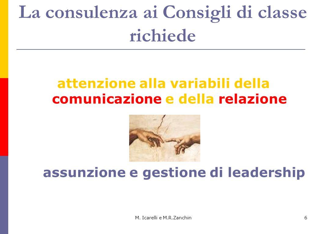 La consulenza ai Consigli di classe richiede attenzione alla variabili della comunicazione e della relazione M. Icarelli e M.R.Zanchin6 assunzione e g