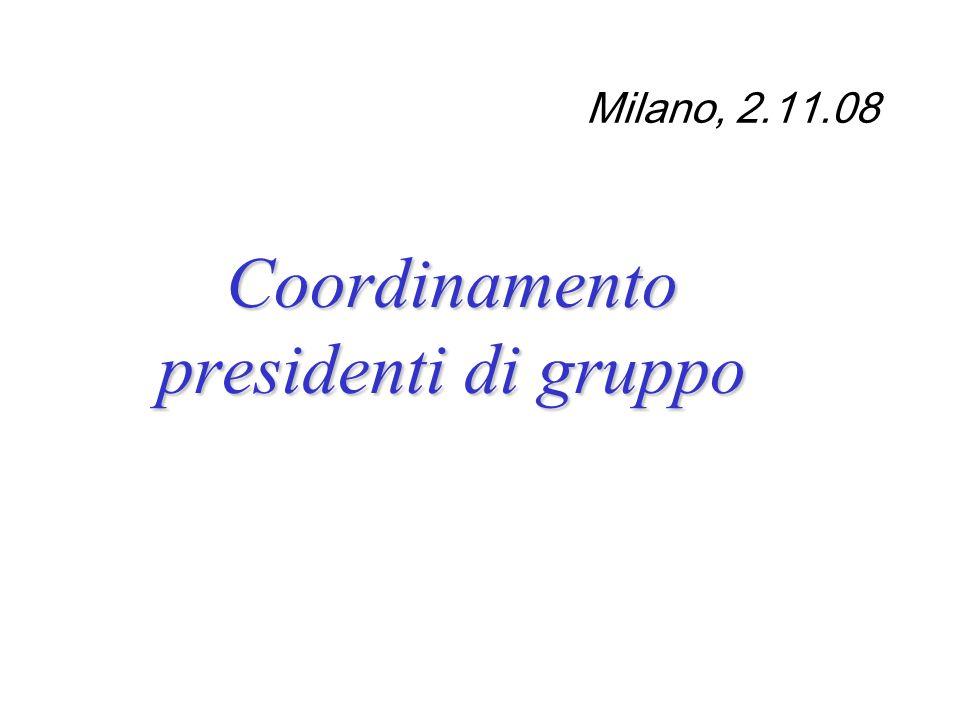 Milano, 2.11.08 Coordinamento presidenti di gruppo